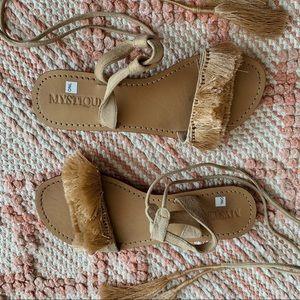 Nude Mystique Fringe Bohemian Lace Up Sandals 8